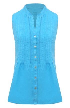 Женская льняная блузка 120% LINO голубого цвета, арт. T0W19G1/B317/000 | Фото 1