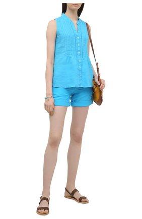 Женская льняная блузка 120% LINO голубого цвета, арт. T0W19G1/B317/000 | Фото 2