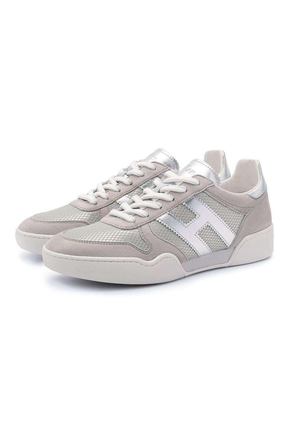 Женские комбинированные кроссовки h357 HOGAN серого цвета, арт. HXW3570AC40P9E | Фото 1