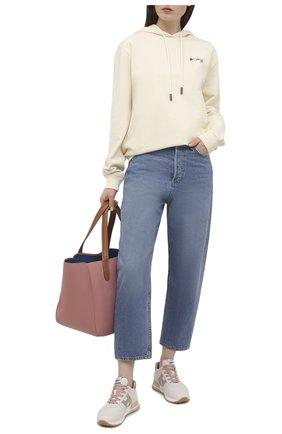 Женские кожаные кроссовки h383 HOGAN бежевого цвета, арт. HXW3830DM30PC8   Фото 2