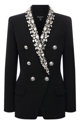 Женский шерстяной жакет BALMAIN черного цвета, арт. VF17471/W125 | Фото 1