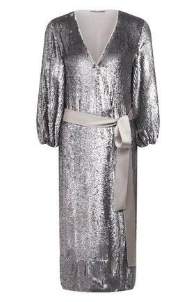 Женское платье с пайетками ALICE + OLIVIA серебряного цвета, арт. CC011E55523 | Фото 1