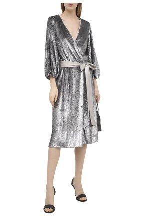 Женское платье с пайетками ALICE + OLIVIA серебряного цвета, арт. CC011E55523 | Фото 2