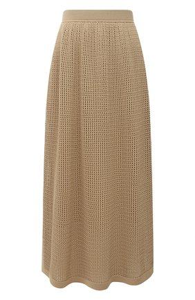 Женская юбка из хлопка и шелка LORO PIANA бежевого цвета, арт. FAL5799 | Фото 1
