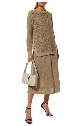 Женская юбка из хлопка и шелка LORO PIANA бежевого цвета, арт. FAL5799 | Фото 2