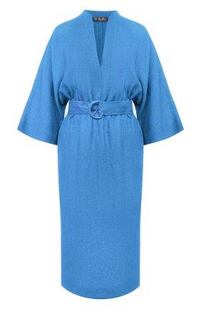 Женское льняное платье LORO PIANA синего цвета, арт. FAL1286 | Фото 1