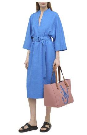 Женское льняное платье LORO PIANA синего цвета, арт. FAL1286 | Фото 2