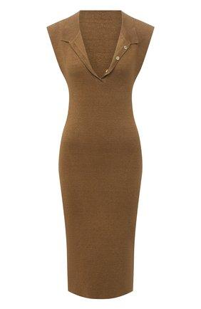 Женское льняное платье JACQUEMUS темно-бежевого цвета, арт. 211KN18/201830 | Фото 1