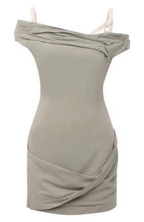 Женское платье из вискозы и льна JACQUEMUS зеленого цвета, арт. 211DR22/111530 | Фото 1