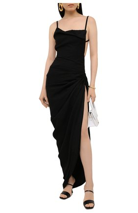 Женское платье из вискозы JACQUEMUS черного цвета, арт. 211DR01/102990 | Фото 2