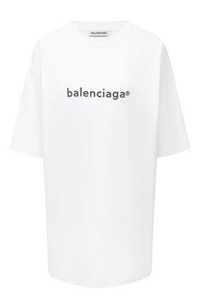 Женская хлопковая футболка BALENCIAGA белого цвета, арт. 641655/TIV54 | Фото 1