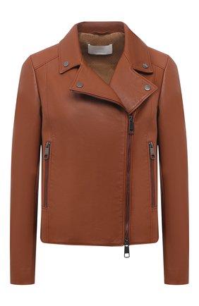 Женская кожаная куртка BOSS коричневого цвета, арт. 50442414 | Фото 1