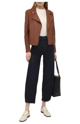 Женская кожаная куртка BOSS коричневого цвета, арт. 50442414 | Фото 2