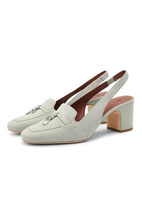 Женские замшевые туфли  LORO PIANA синего цвета, арт. FAI9981 | Фото 1