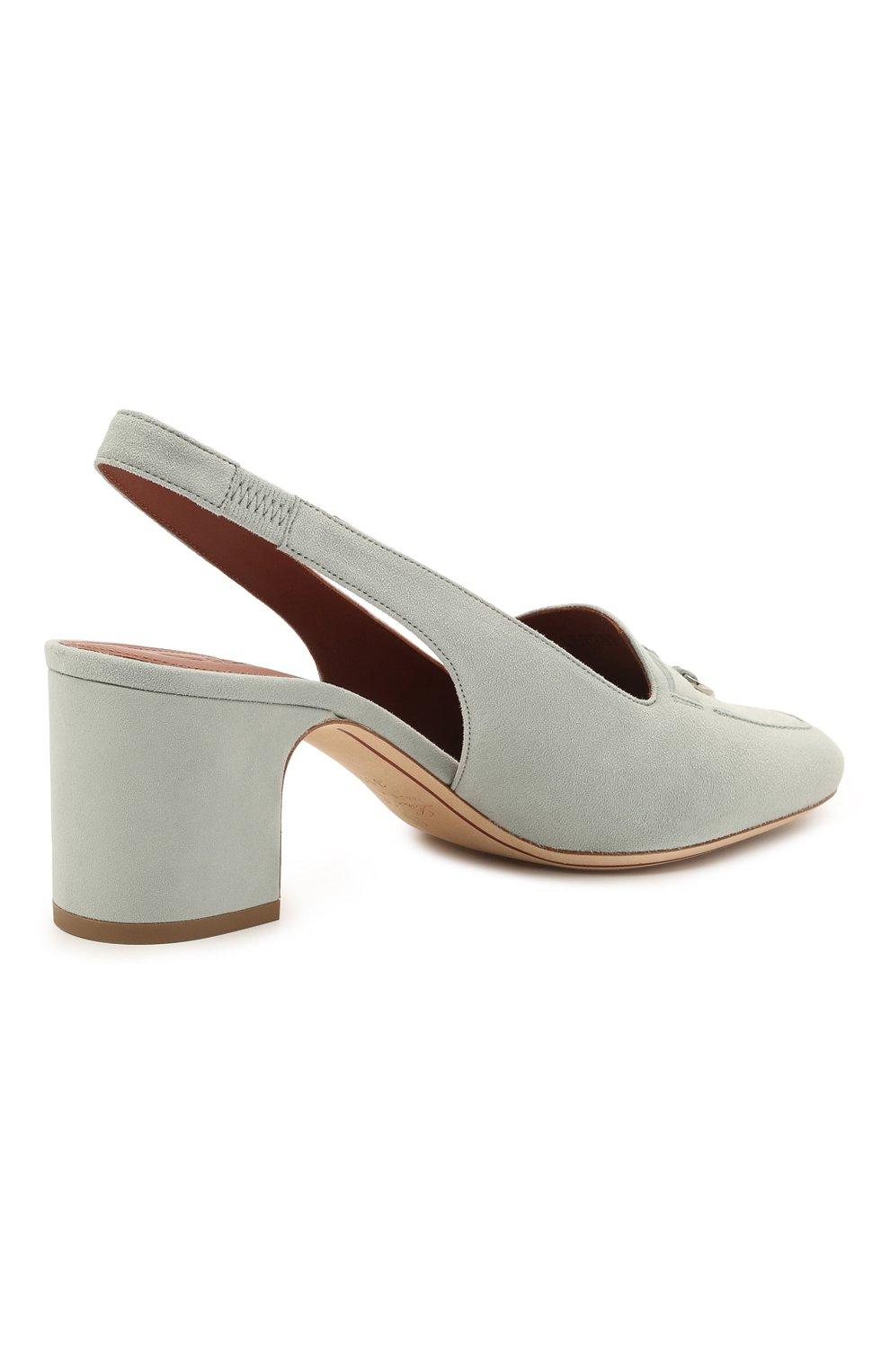 Женские замшевые туфли  LORO PIANA синего цвета, арт. FAI9981 | Фото 4