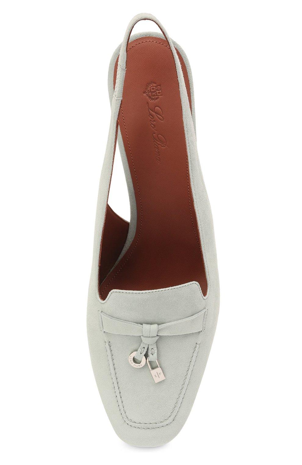 Женские замшевые туфли  LORO PIANA синего цвета, арт. FAI9981 | Фото 5