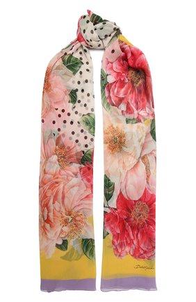 Женская шелковая шаль DOLCE & GABBANA розового цвета, арт. FS182A/GDV64   Фото 1
