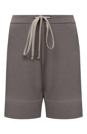 Женские шерстяные шорты RICK OWENS серого цвета, арт. RP21S3650/M   Фото 1