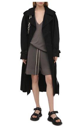 Женские шерстяные шорты RICK OWENS серого цвета, арт. RP21S3650/M   Фото 2