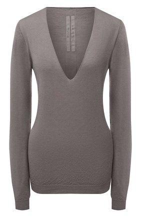 Женский кашемировый пуловер RICK OWENS серого цвета, арт. RP21S3623/WS   Фото 1