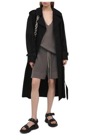 Женский кашемировый пуловер RICK OWENS серого цвета, арт. RP21S3623/WS   Фото 2