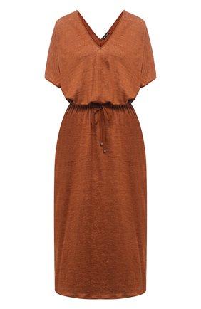 Женское льняное платье KITON коричневого цвета, арт. D51343TK09T94 | Фото 1