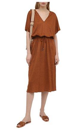 Женское льняное платье KITON коричневого цвета, арт. D51343TK09T94 | Фото 2