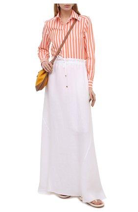 Женская льняная юбка KITON белого цвета, арт. D51213K06S98 | Фото 2