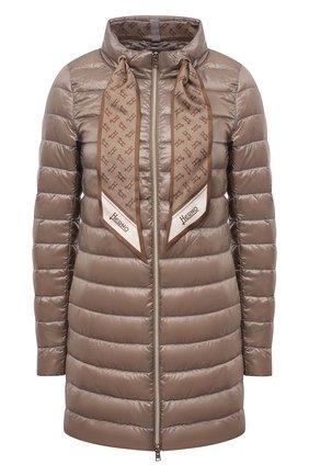 Женская пуховая куртка HERNO темно-бежевого цвета, арт. PI1267D/12017 | Фото 1