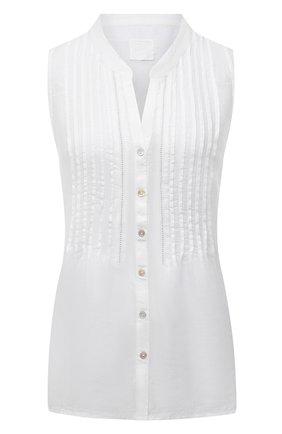 Женская льняная блузка 120% LINO белого цвета, арт. T0W19G1/B317/000 | Фото 1