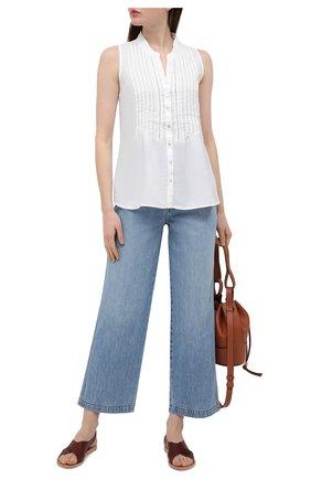 Женская льняная блузка 120% LINO белого цвета, арт. T0W19G1/B317/000 | Фото 2