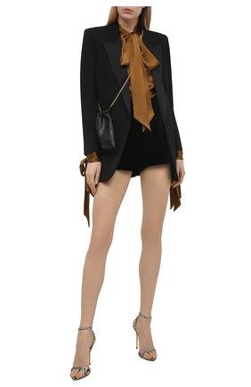 Женские текстильные босоножки TOM FORD черно-белого цвета, арт. W2272T-TSA011 | Фото 2