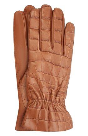 Женские кожаные перчатки BOTTEGA VENETA бежевого цвета, арт. 652192/3V00G | Фото 1 (Материал: Кожа)