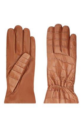 Женские кожаные перчатки BOTTEGA VENETA бежевого цвета, арт. 652192/3V00G | Фото 2 (Материал: Кожа)