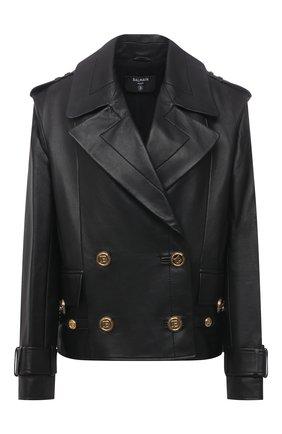 Женская кожаная куртка BALMAIN черного цвета, арт. VF19495/L062 | Фото 1