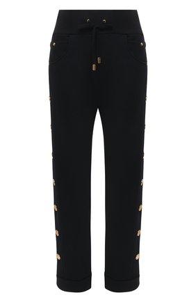 Женские хлопковые брюки BALMAIN черного цвета, арт. VF15364/J094 | Фото 1