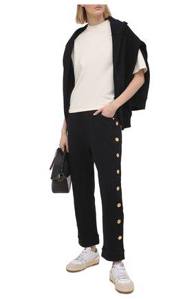 Женские хлопковые брюки BALMAIN черного цвета, арт. VF15364/J094 | Фото 2