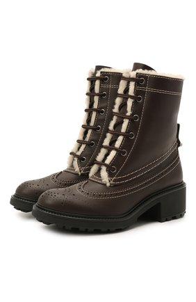 Женские кожаные ботинки franne CHLOÉ темно-коричневого цвета, арт. CHC21S381P7 | Фото 1