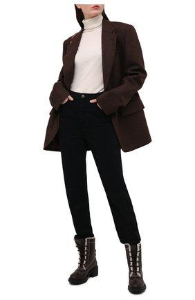 Женские кожаные ботинки franne CHLOÉ темно-коричневого цвета, арт. CHC21S381P7 | Фото 2