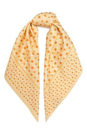 Женский шелковый платок LORO PIANA желтого цвета, арт. FAL5128   Фото 1 (Материал: Текстиль, Шелк)