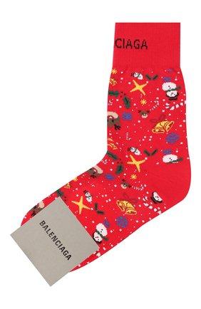 Женские хлопковые носки BALENCIAGA красного цвета, арт. 641569/3A4B4   Фото 1