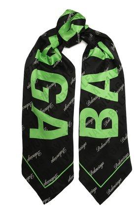 Женский шелковый шарф BALENCIAGA черного цвета, арт. 639129/310B3 | Фото 1