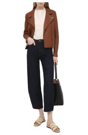 Женские кожаные шлепанцы MANU ATELIER кремвого цвета, арт. 2021116 | Фото 2