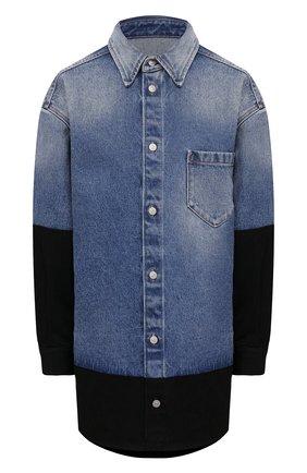 Женская джинсовая рубашка MM6 темно-синего цвета, арт. S52DL0145/S30589 | Фото 1 (Материал внешний: Хлопок; Длина (для топов): Удлиненные; Рукава: Длинные; Женское Кросс-КТ: Рубашка-одежда; Стили: Гранж; Принт: Без принта; Кросс-КТ: Деним)