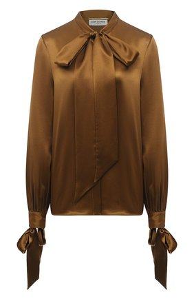 Женская шелковая блузка SAINT LAURENT коричневого цвета, арт. 640877/Y001W | Фото 1