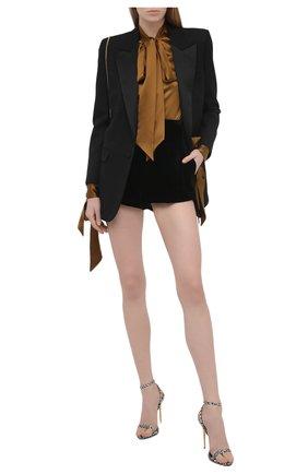 Женская шелковая блузка SAINT LAURENT коричневого цвета, арт. 640877/Y001W | Фото 2