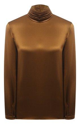 Женская шелковая блузка SAINT LAURENT коричневого цвета, арт. 631071/Y001W | Фото 1