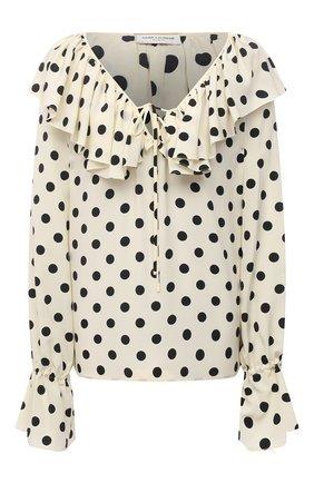 Женская шелковая блузка SAINT LAURENT черно-белого цвета, арт. 556416/Y145U | Фото 1