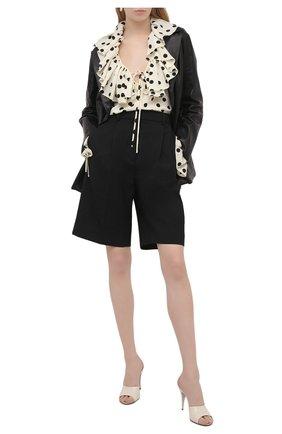 Женская шелковая блузка SAINT LAURENT черно-белого цвета, арт. 556416/Y145U | Фото 2