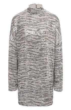 Женское платье с пайетками IN THE MOOD FOR LOVE серебряного цвета, арт. PRINTED MARCEAU DRESS | Фото 1